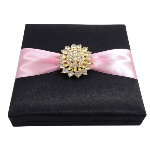 Golden crystal brooch embellished silk box