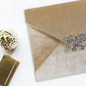Luxury champagne velvet envelope with crystal brooch for invitations