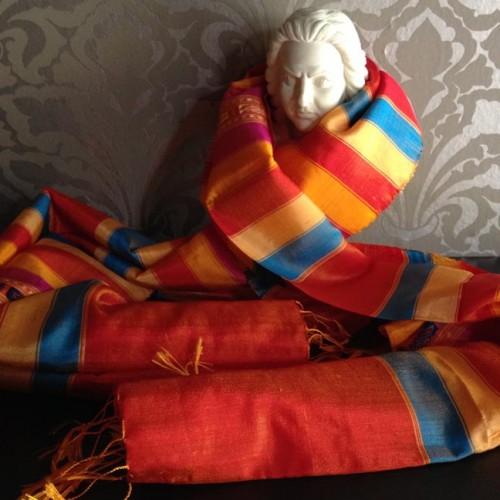 orange mudmee silk shawl