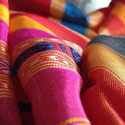 Close up picture of hand-woven muddle silk shawl from Thailand