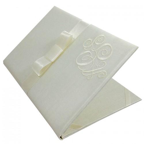 Monogram Embroidered Wedding Invitation Ivory Silk Folio