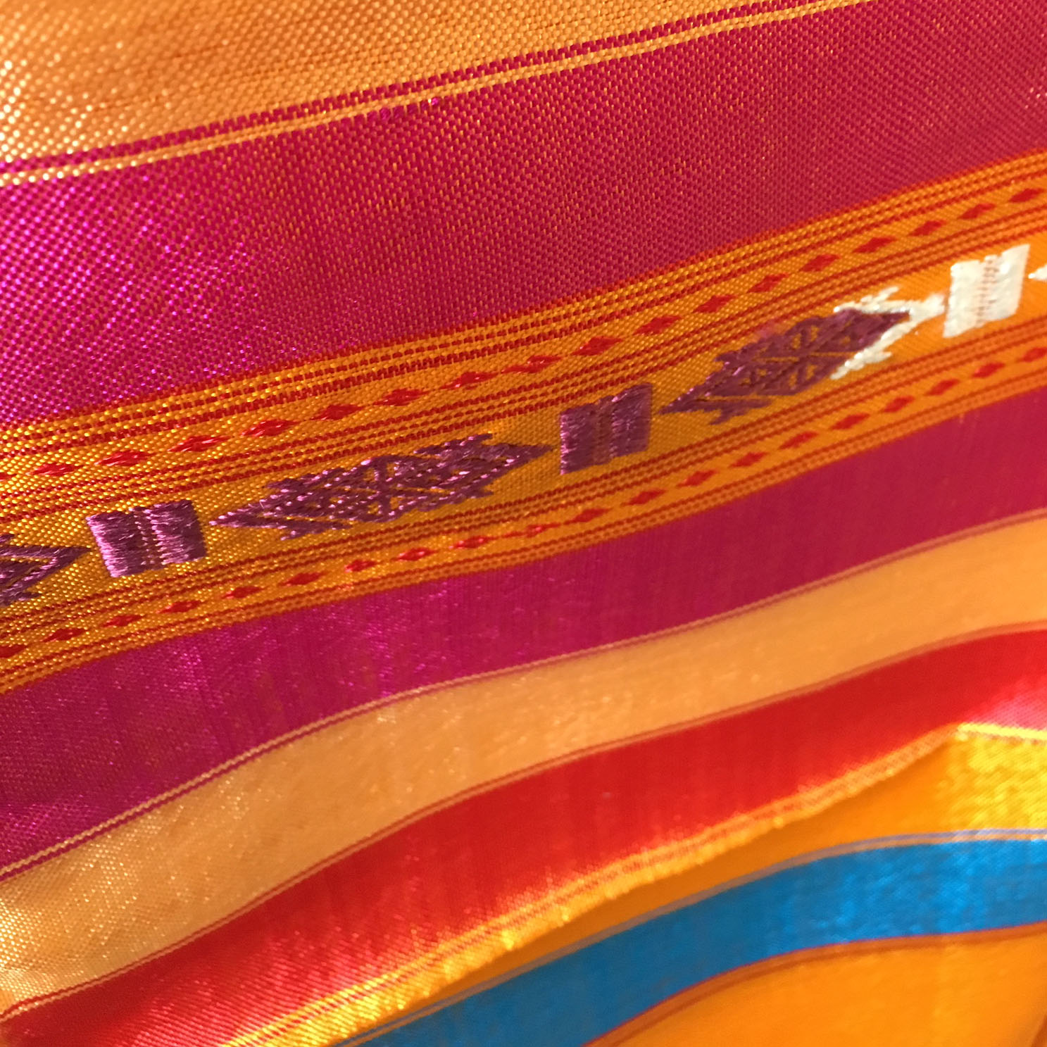 Orange pattern Thai silk fabric