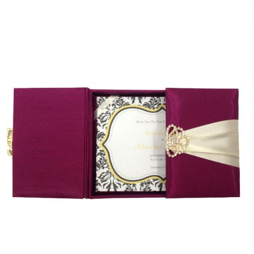 DARK MAGENTA SILK WEDDING INVITATION BOX WITH GOLD PLATED CRYSTAL