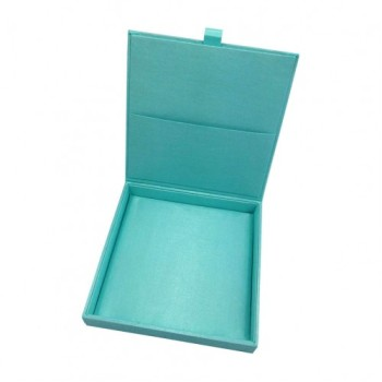Aqua blue silk invitation box