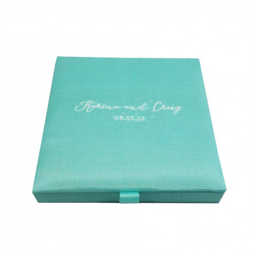 Modern aqua blue wedding invitation box with silk