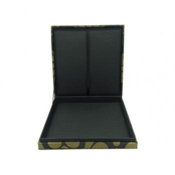Black silk box with brocade silk exterior