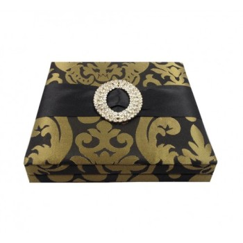 Brocade silk wedding invitation box