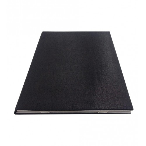 Top view of the black and white folio invitation with black silk exterior and padding