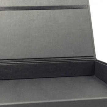 Detail view of a black invitation box