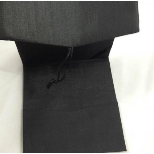 Top view of opened black pocket folder