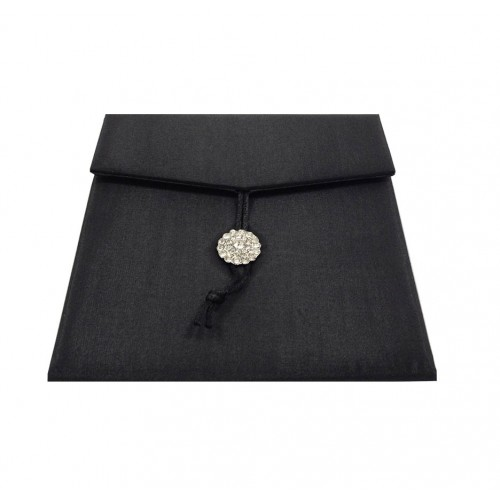 black silk invitation envelope with crystal button and cord lock