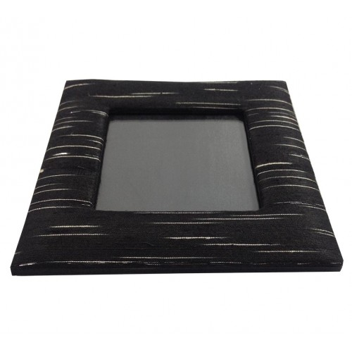 Black dupioni silk photo frame