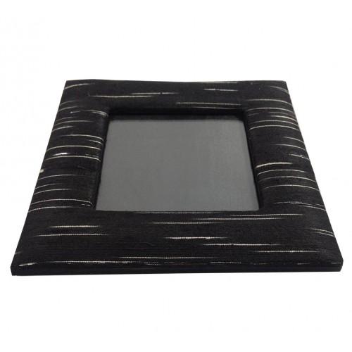 Black dupioni silk photo frame