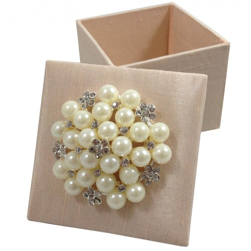 Silk favor box with removable lid