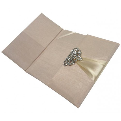 Dupioni silk folio for wedding cards, one door open