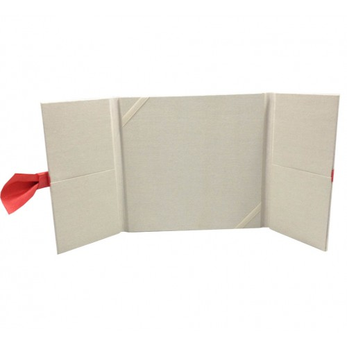 Open view of our bow embellished wedding folder