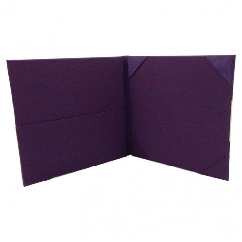 Purple folio invitation with pockets