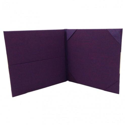 Purple folio invitation with pockets