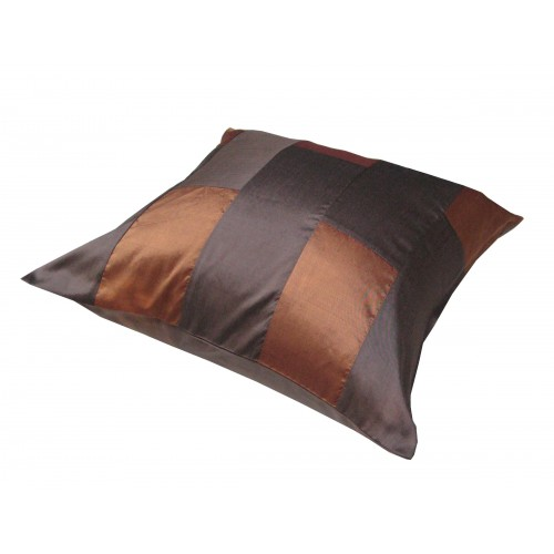 Brown Thai silk cushion cover