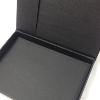 Black card stock hinged lid wedding invitation box