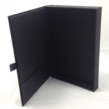 Inside view of a black cardstock wedding box