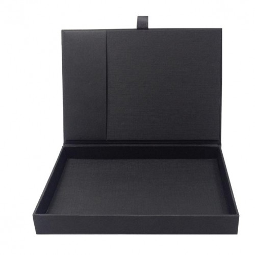 Card Stock Invitation Box Featuring Black Art Paper Hinged Lid