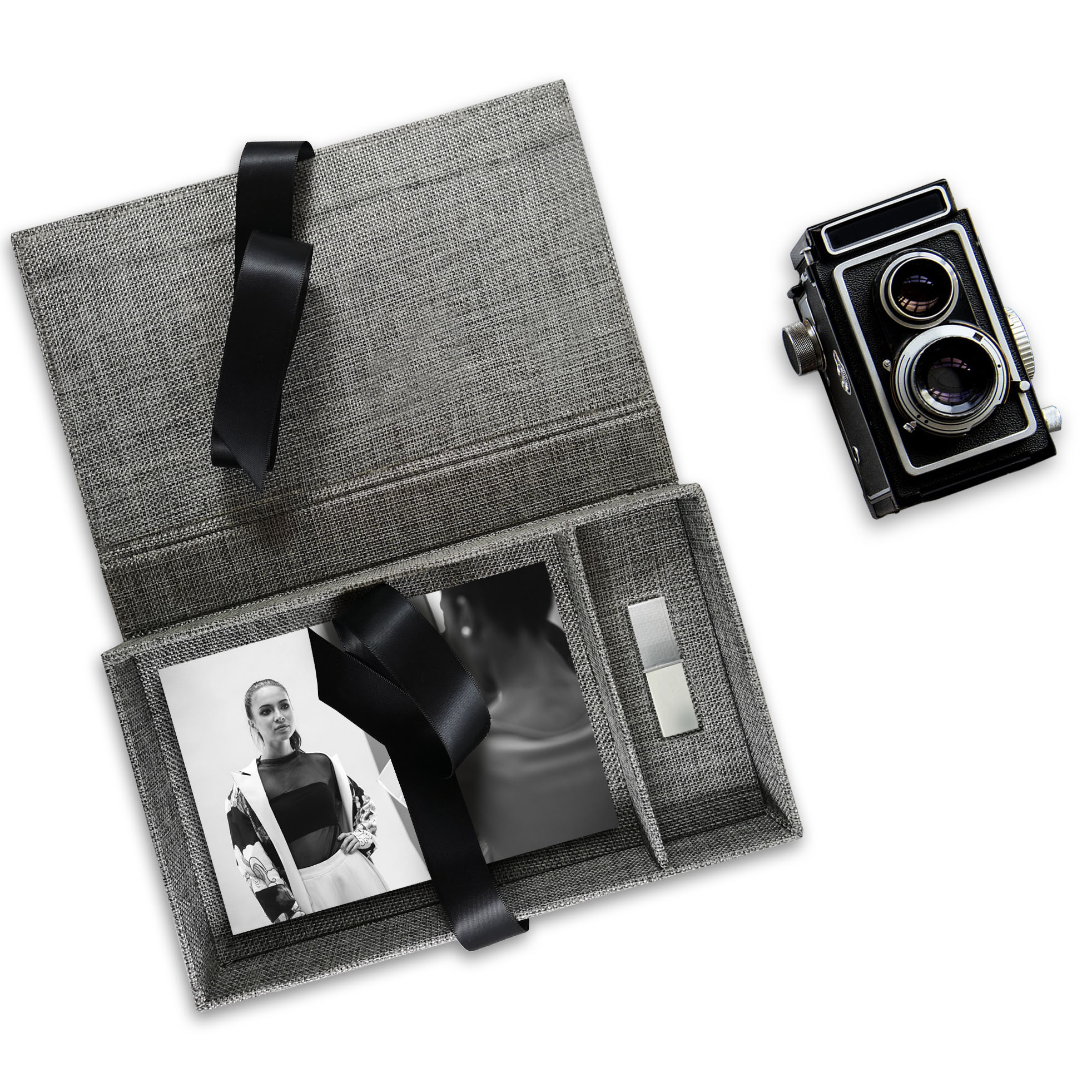 Charcoal linen USB photo box for photographer out now!