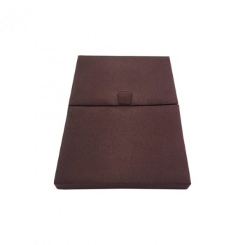Chocolate brown gatefold silk invitation box