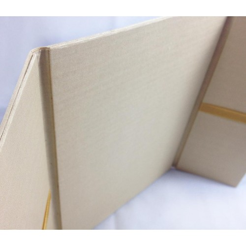 Inside view of a gate silk folder in gold with ribbon holder