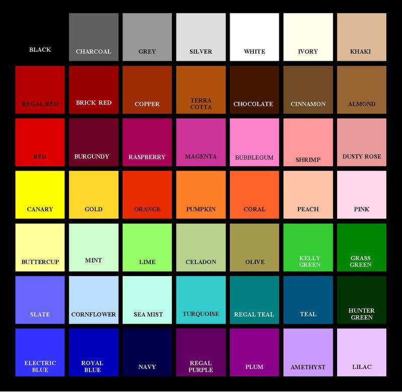 Cotton fabric color chart