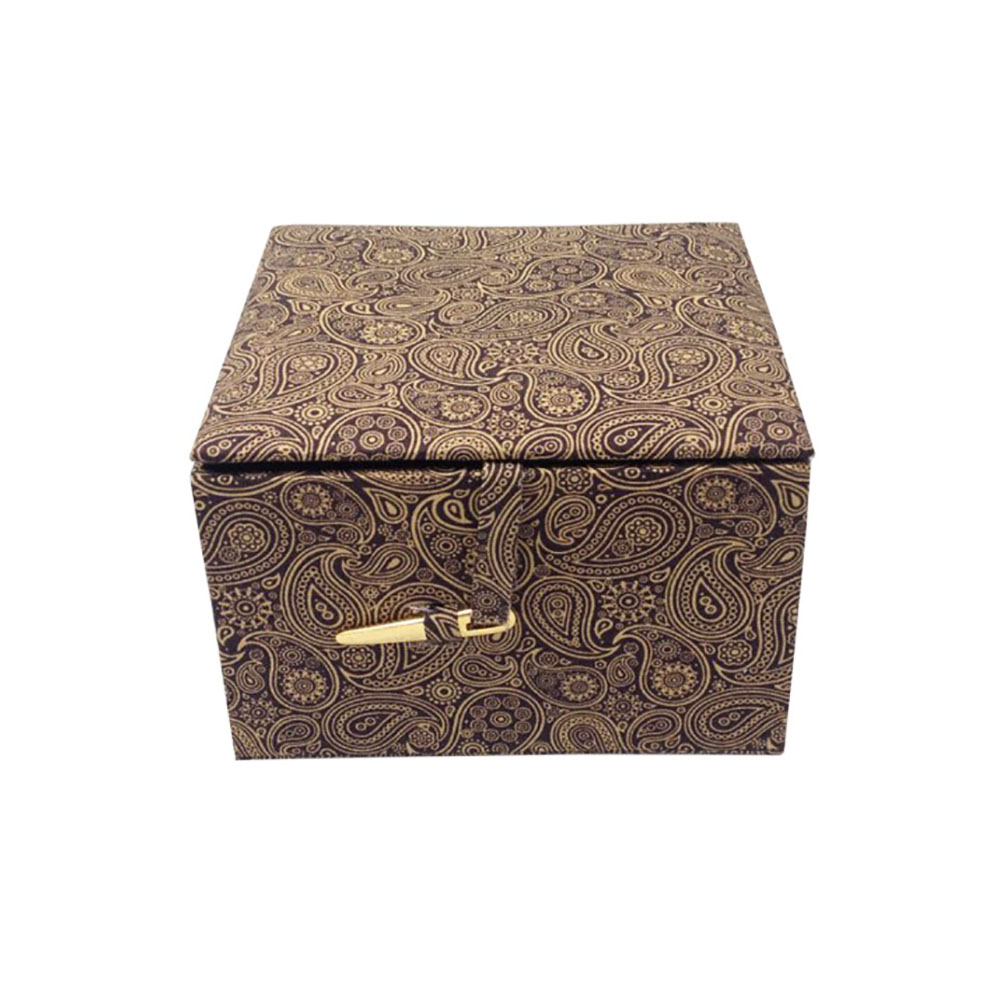 brown cotton jewellery box