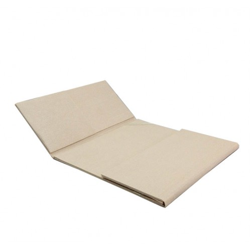 Gate folder in cream with dupioni silk