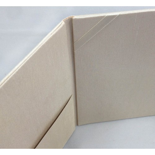 Pocket view of our dupioni silk folder in cream