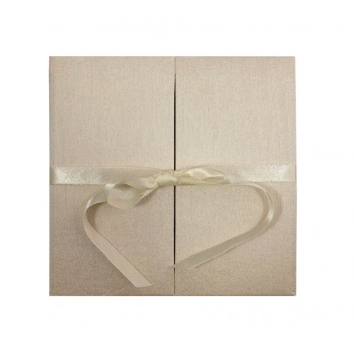 Cream dopioni silk folder with bow