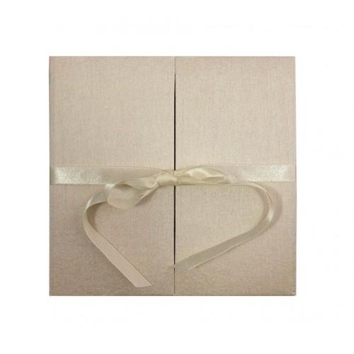 Cream dopioni silk folder with bow