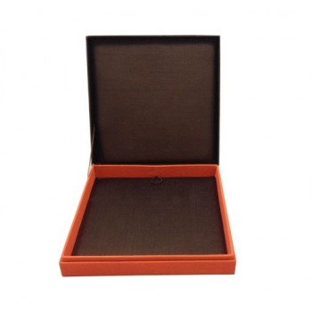Brown and orange hinged lid silk jewellery box