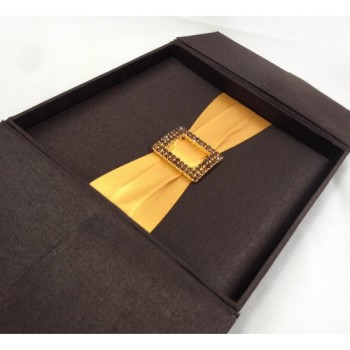 Chocolate brown wedding invitation box