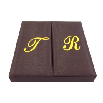 Monogram embroidered silk wedding boxes