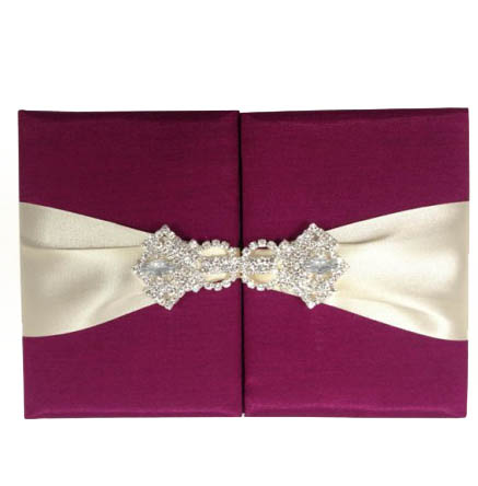 Magenta Invitation Folder & Crystal Brooch