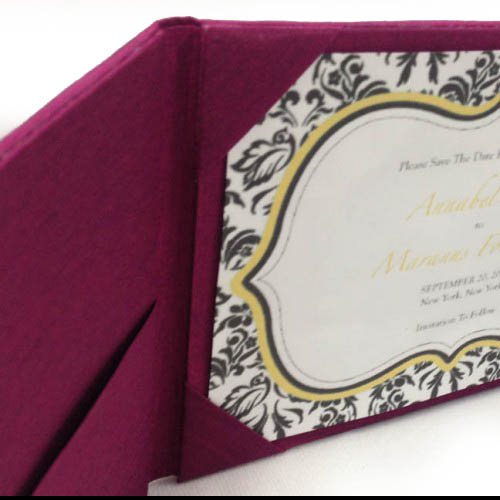 Rhinestone clasp embellished dark magenta silk folio invitation