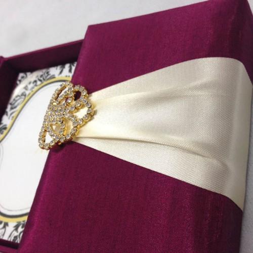 DARK MAGENTA SILK WEDDING INVITATION BOX WITH GOLD PLATED CRYSTAL