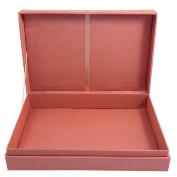Dusty pink hinged lid faux silk box