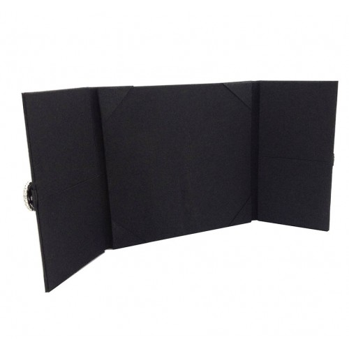 Gate fold invitation in black with pockets