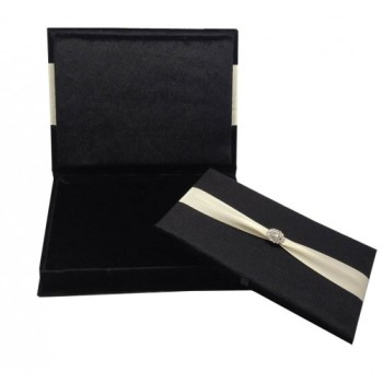 Velvet wedding invitation box with removable velvet pad in black