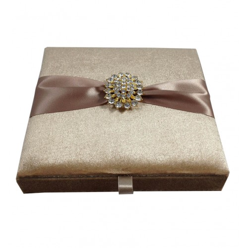embellished broke nude color velvet wedding box