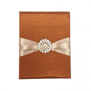 Bronze color silk folder with padding and brooch embellishment