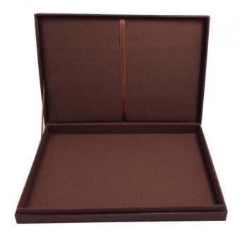 brown hinged lid wedding invitation box