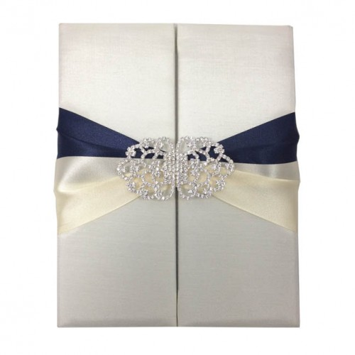 Ivory & navy blue invitation folder