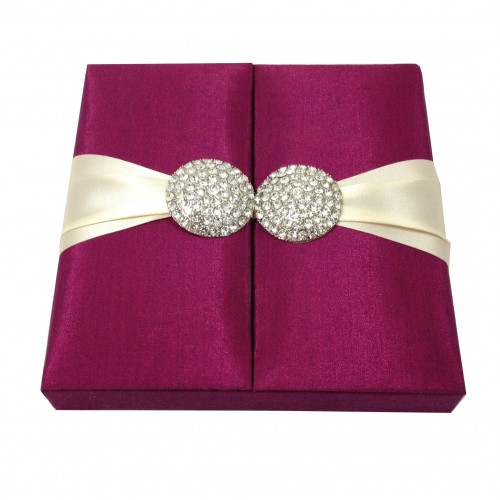 embellished gatefold invitation box in fuchsia pink