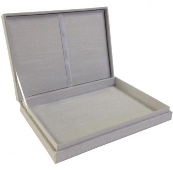 Hinged lid dupioni silk box for wedding cards